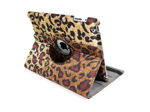 Cheetah Pattern Leather 360 Folio Stand Protection Case Cover For Apple iPad 2 3 4 Tablet