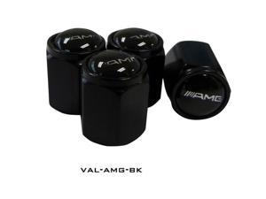 Black Aluminum - 4pcs Logo Car Tyre Tire Valve Stem Caps Cover For your AMG