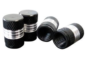 Black and Silver Aluminum - 4pcs Logo Car Tyre Tire Valve Stem Caps Cover