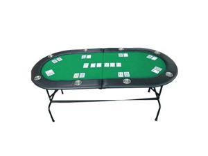 "73"" 8 Player Casino Texas Holdem w/ Stainless Steel Cup Holders Poker Table Green"