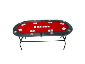 "73"" 8 Player Casino Texas Holdem w/ Stainless Steel Cup Holders Poker Table Red"