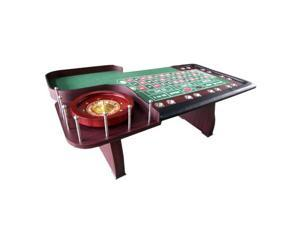 "Roulette Table & 18"" Wooden Roulette Wheel Green"