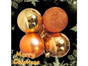 Christmas Tree Decoration - 4 Pcs Ball Bauble / Baubles Orange Glittery (60mm) #7347#