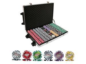 New 1000 Ct Las Vegas Nevada Poker Chip Set with Cards & Rollers
