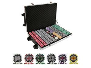 1000 ACE CASINO TABLE POKER CHIPS SET W/ CARDS NEW & ROLLERS
