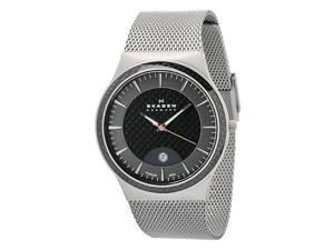 Skagen Black Carbon Fiber Dial Titanium Mens Watch 234XXLT