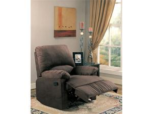 Chocolate Microfiber Rocker Recliner by Coaster Furniture
