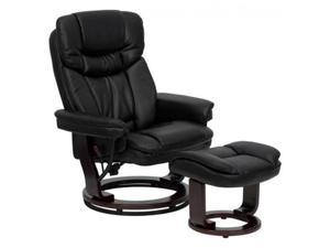Contemporary Black Leather Recliner and Ottoman with Swiveling Mahogany Wood Base By Flash Furniture