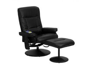 12 Massaging Black Leather Recliner and Ottoman with Leather Wrapped Base