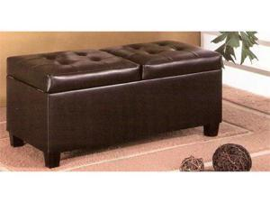 Dark Brown Leather Storage Ottoman by Coaster Furniture