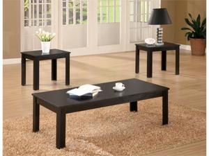 Black Finish Coffee  End Table 3-Piece Set by Coaster Furniture