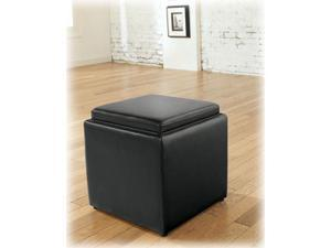Cubit - Black Ottoman w/ Flip Top - 1 Cube inside by Ashley Furniture