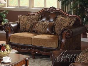 Traditional Chenille Bycast PU Leather Loveseat by Acme Furniture