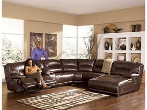 Exhilaration Chocolate Leather Right Corner Chaise Sectional (No Power)