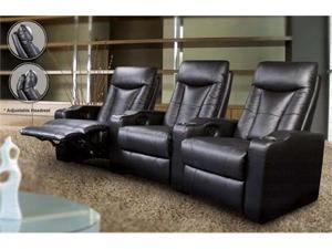 Pavillion Theatre Seating Black 4 Seated Leather Chairs by Coaster Furniture