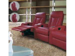 Pavillion Theater Seating - 2 Red Leather Chairs by Coaster Furniture