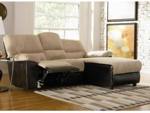 Recliner and Chaise Sofa in Tan Microfiber by Coaster