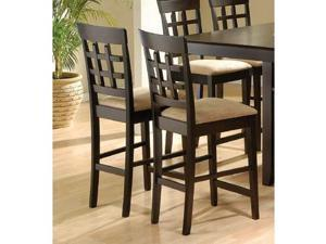 Rich Cappuccino Counter Height Stool w/Wheat Back (Set of 2) by Coaster Furniture