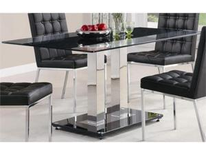 Rolien Chrome Finish Dining Table with Tempered Glass Top by Coaster Furniture