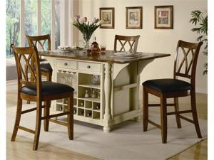 Two-Tone Kitchen Island with Bar Stools by Coaster Furniture