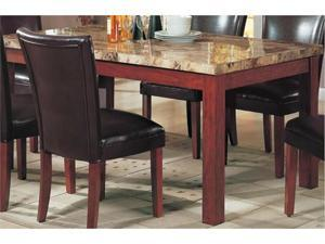 Telegraph Rectangular Marble Top Dining Table in Medium Brown by Coaster
