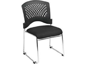 Plastic Back and Mesh Seat Guest Chair with Black Fabric Seat, Sled Base and Chrome Finish Frame