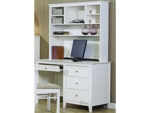 selena white computer desk with hutch by coaster furniture newegg