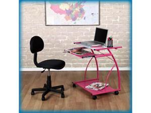 L-Cart Computer Table in Pink with Clear Glass by Studio Designs