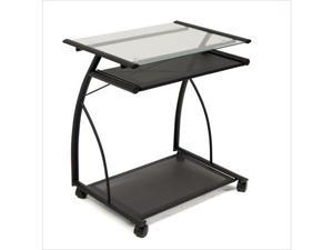 L-Cart Computer Table in Black with Clear Glass by Studio Designs