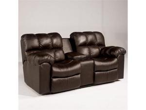 Max - Chocolate Double Reclining Loveseat w/ Console by Ashley Furniture