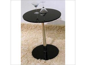 Lucy end table with black glass base and top