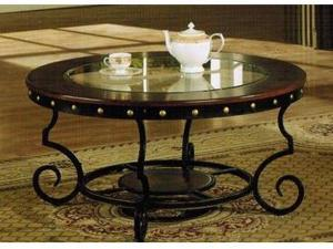 COFFEE TABLE W/ NAIL HEAD TRIM IN TWO TONE FINISH BY POUNDEX