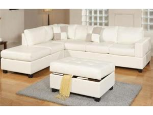 3 Pieces Sectional Sofa in Cream Finish by Poundex