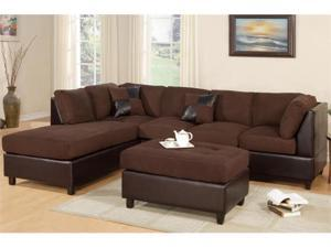 Chocolate Microfiber Sectional Sofa by Poundex
