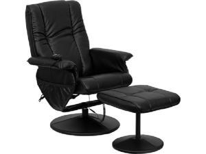 Massaging Black Leather Recliner and Ottoman with Leather Wrapped Base by Flash Furniture