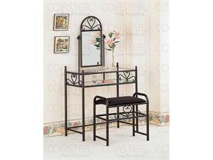 Vanity Set in Black Finish by Coaster Furniture