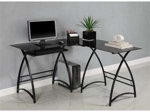 L-Shaped Glass Computer Desk - Black/Black by Walker Edison