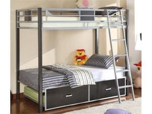 Twin/Full Bunk Bed in Silver  Gun Metal Finish by Furniture of America