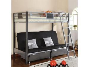 Twin Size Loft Bed with Futon in Silver  Gun Metal Finish by Furniture of America
