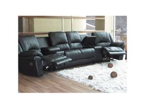 Promenade Theater Sectional in Black Leather by Coaster