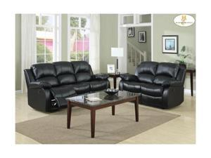 Black Double Reclining Sofa By Homelegance