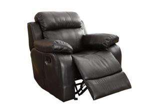 Rocker Recliner Chair in Black Bonded Leather by Homelegance