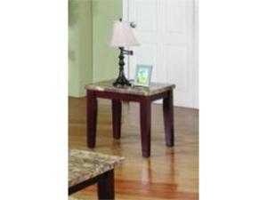 Granada Contemporary End Table w/ Marble Top in Brown by Acme Furniture