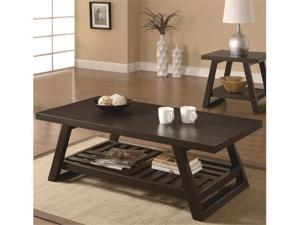 Casual Coffee Table with Slatted Bottom Shelf in Brown by Coaster