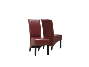 "Burgundy Leather-Look 40""H Parson Chair / 2Pcs Per Ctn"