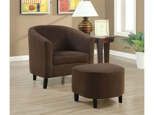 Chocolate Brown Padded Micro-Fibre Chair And Ottoman by Monarch