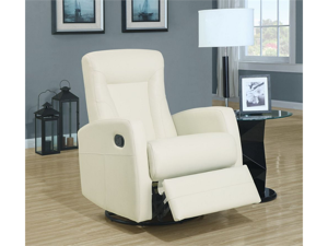 Ivory Bonded Leather Swivel Rocker Recliner by Monarch