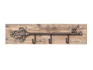 Clever Key Shaped Wall Plaque With Key Hooks by Benzara