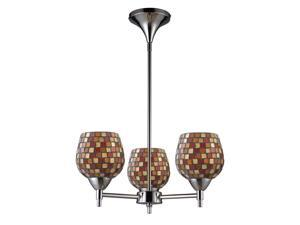 Celina 3-Light Chandelier In Polished Chrome And Multi Fusion Glass
