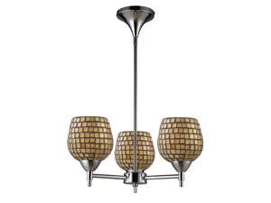 Celina 3-Light Chandelier In Polished Chrome And Gold Leaf Glass